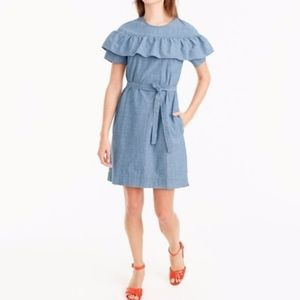 J. Crew Edie Blue Chambray Denim Ruffle Tie Dress